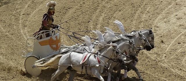 Roma con Romano con caballos estilo pegaso