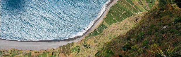Vista aérea de Madeira en Portugal