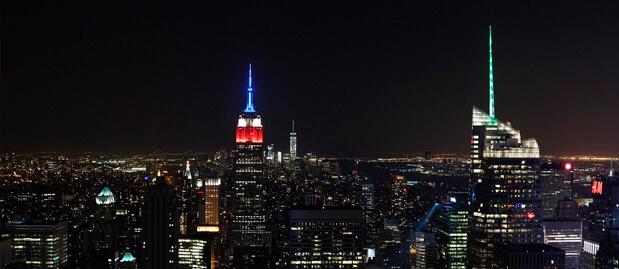 Los rascacielos de nueva york en navidad
